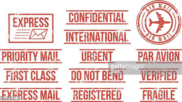 mail - rubber stamps - confidential stock illustrations