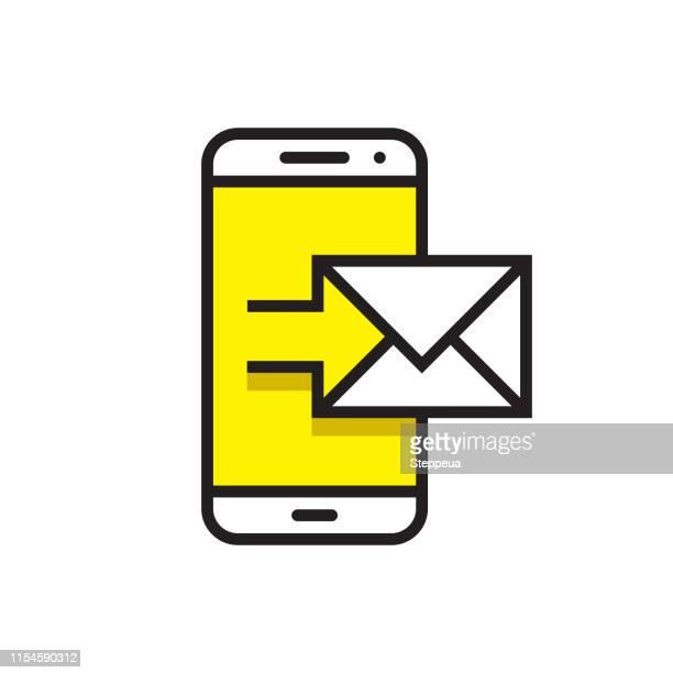 mailsende-linie-symbol - abschicken stock-grafiken, -clipart, -cartoons und -symbole