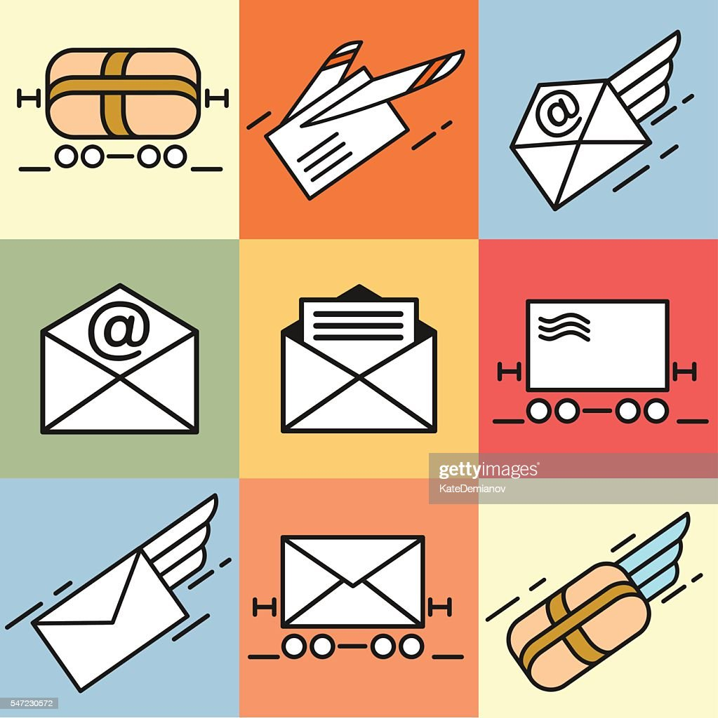 Mail. Set of vector icons. Fast delivery of letters. E-mail.