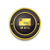 Mail Sign Gold Vector Icon Button
