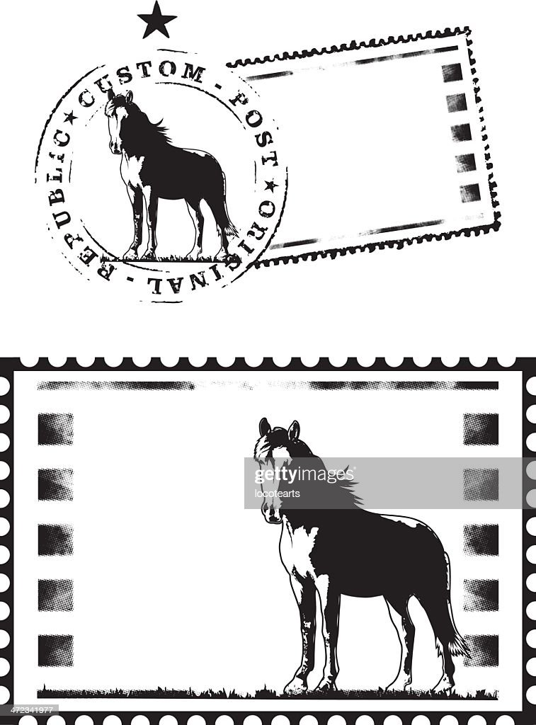 mail stamp with thoroughbred horse