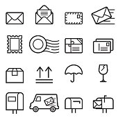 Mail Thin Line Icons