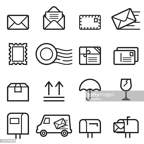 mail thin line icons - sending stock illustrations