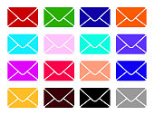 Mail vector icons set. Envelope sign. Color Email and Letter icon Illustration isolated for graphic and web design. illustration
