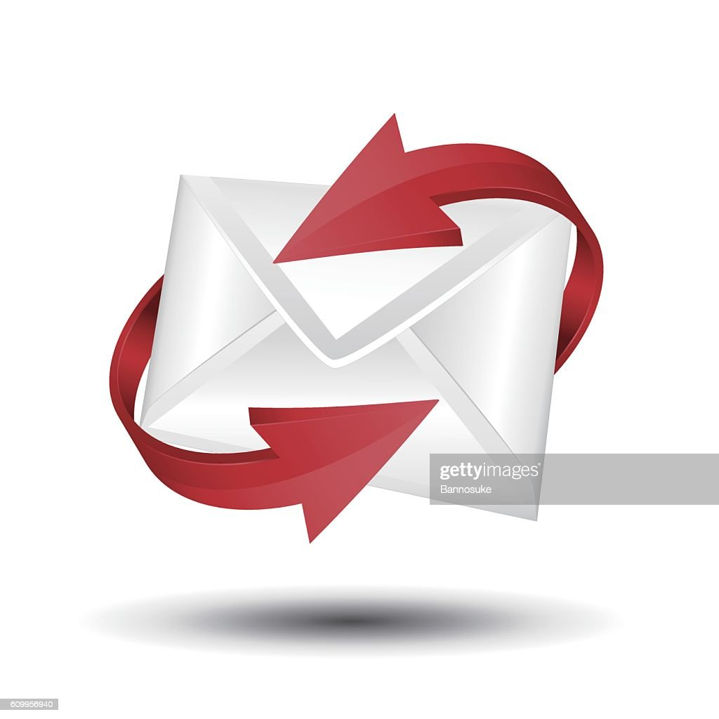 Mail with red circular arrows