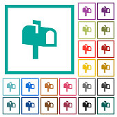 Mailbox flat color icons with quadrant frames