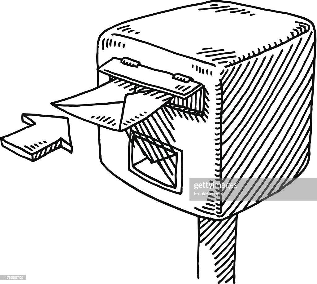 Briefkasten Hineinstecken Buchstabe Pfeil zeichnen : Stock-Illustration