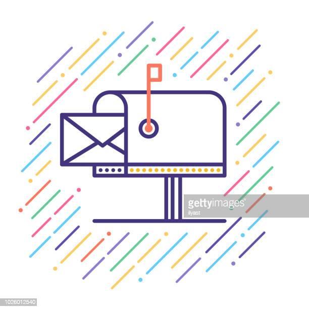 mailbox line icon - sentando stock illustrations