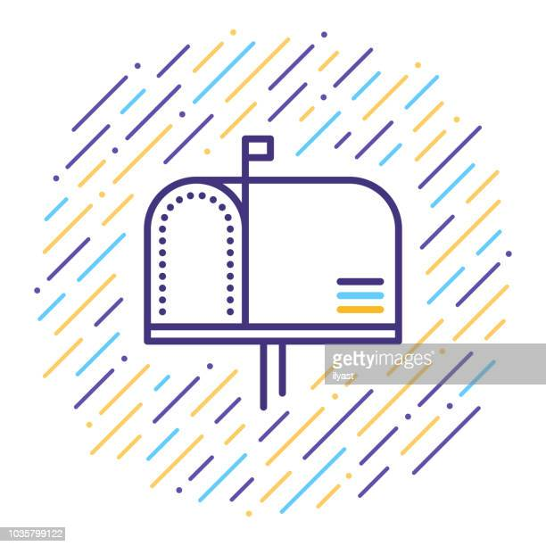 mailbox line icon - outbox filing tray stock illustrations