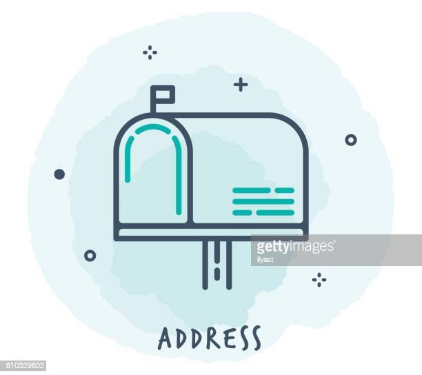 mailbox line icon - post office stock illustrations, clip art, cartoons, & icons