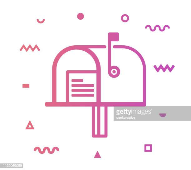 mailbox line style icon design - wide screen stock illustrations