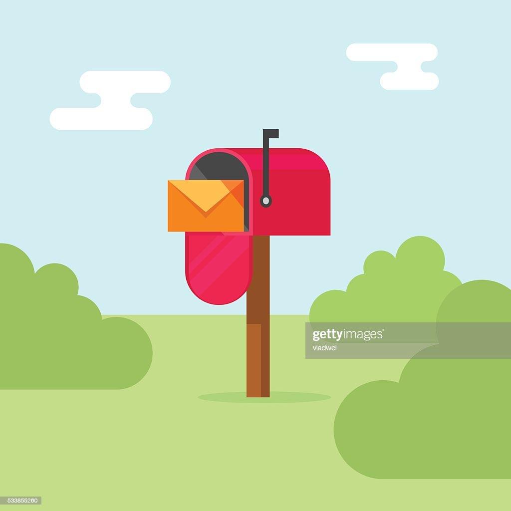 Mailbox vector illustration, post office box on nature
