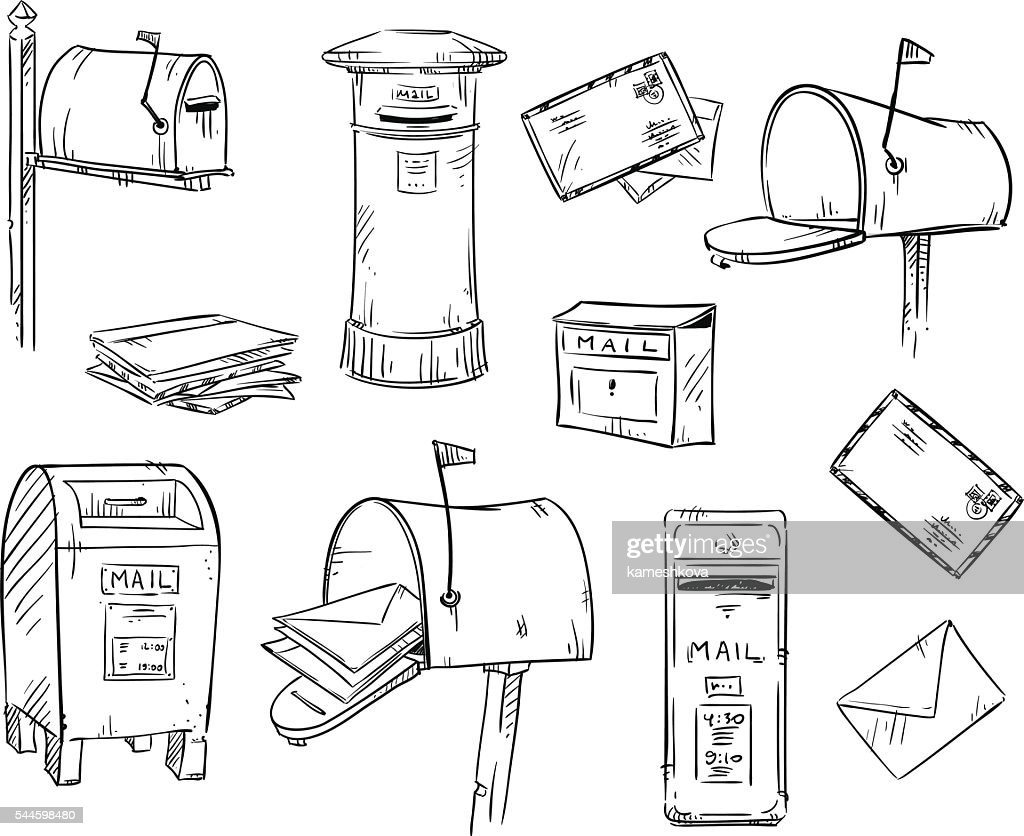 Mailboxes and letters, vector sketch