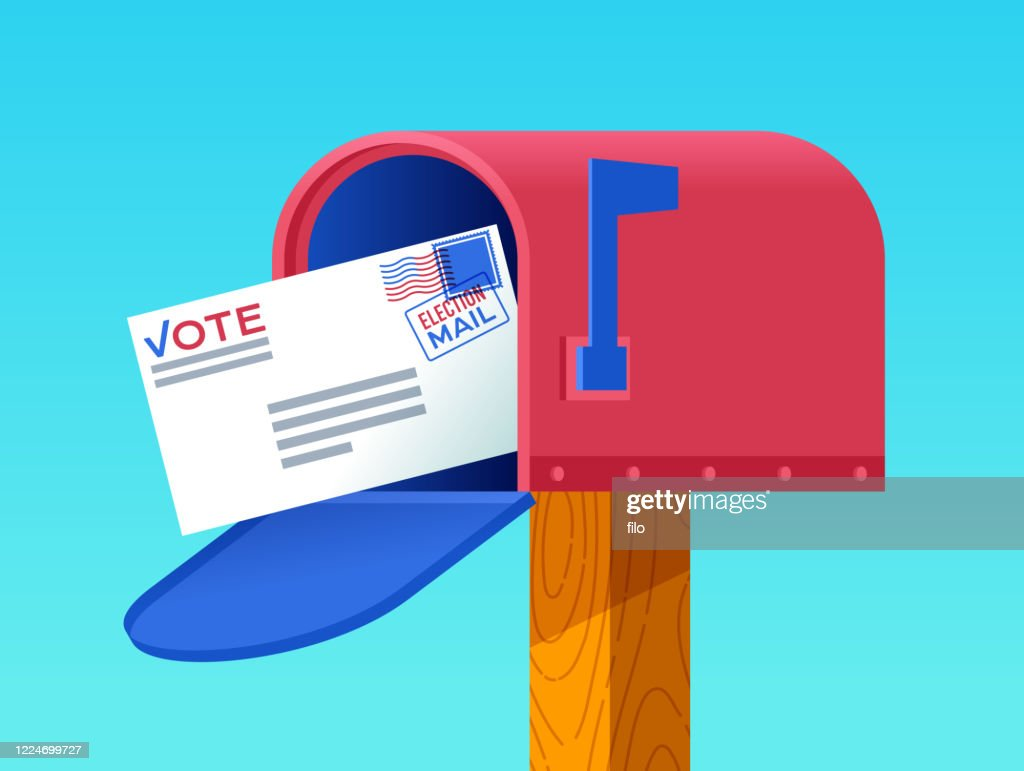 Mail-In Voting Mailbox Letter : stock illustration