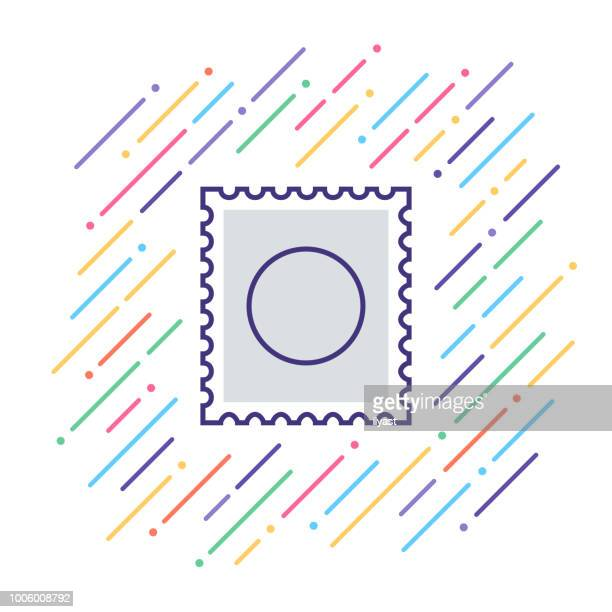 mailing line icon - postage stamp stock illustrations