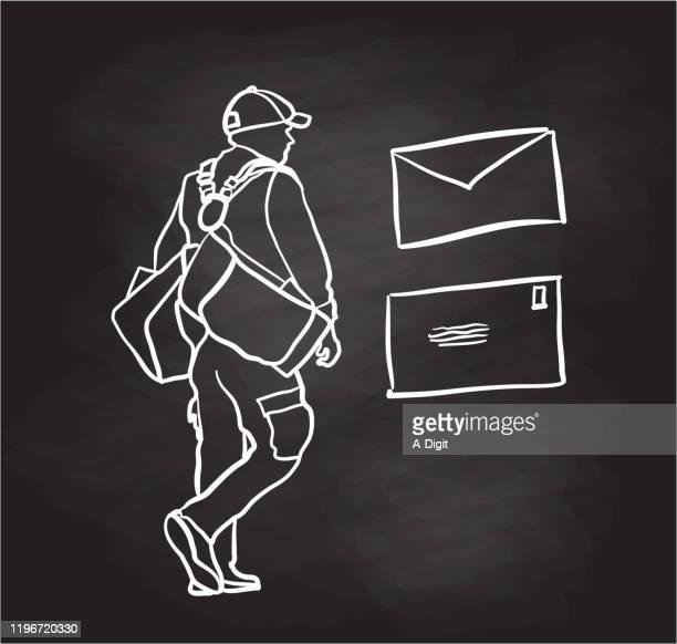illustrations, cliparts, dessins animés et icônes de mailman sur le pied chalkboard - facteur