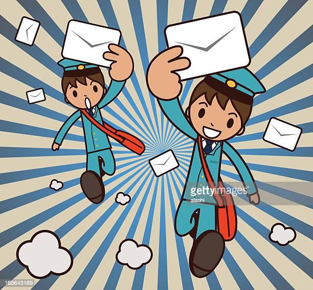 illustrations, cliparts, dessins animés et icônes de mailman running avec une enveloppe - facteur
