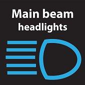 Main beam headlights icon, vector illustration dtc code obd error dasboard sign