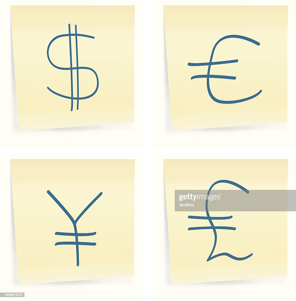 Main Four World Currency Symbols Vector Art Getty Images