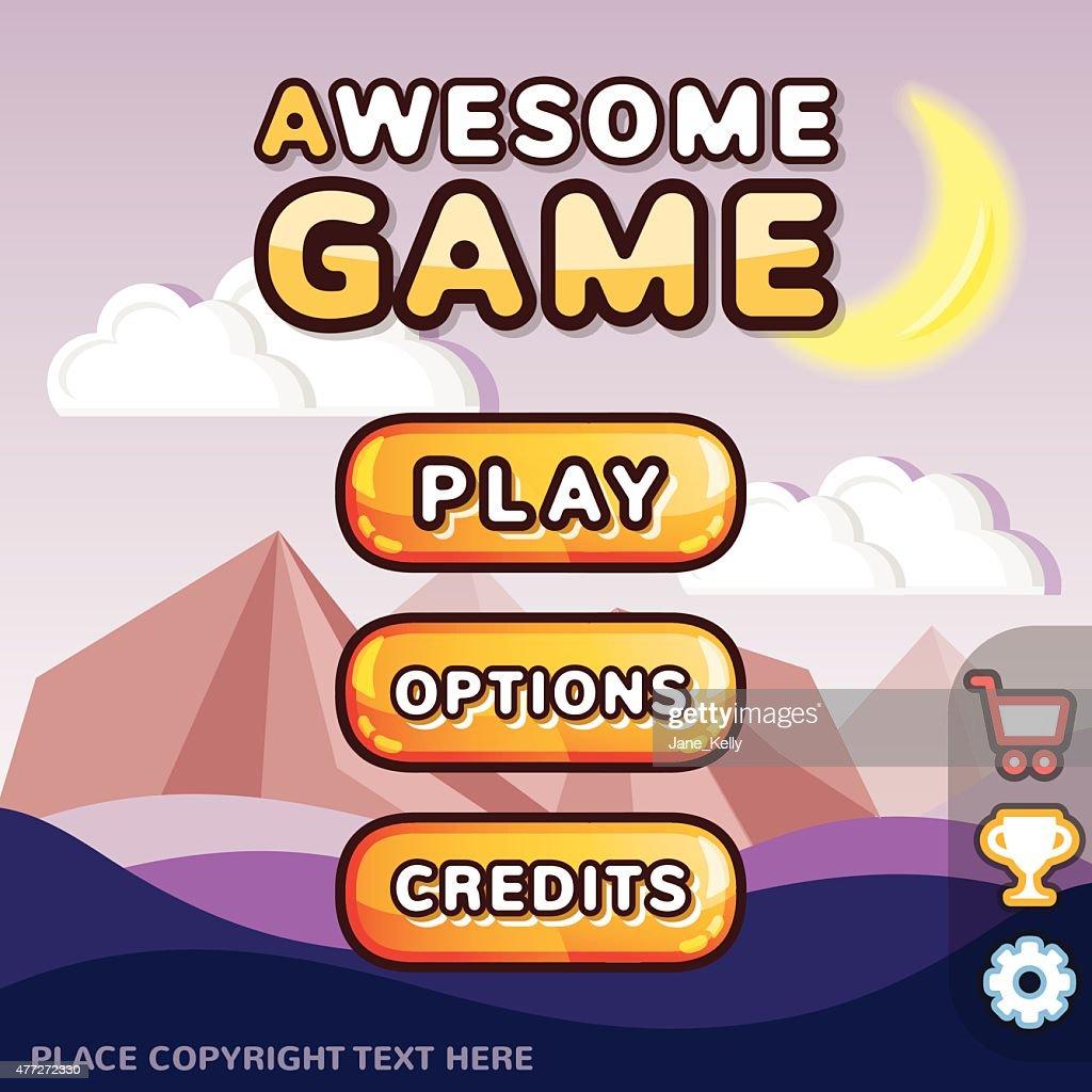 Main menu game interface kit. Mystery canyon scene