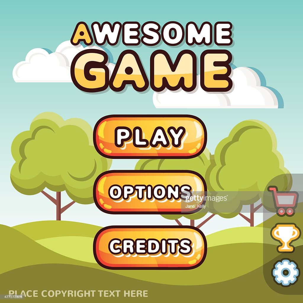 Main menu game interface kit. Sunny hills scene