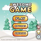 Main menu game interface kit. Winter scene