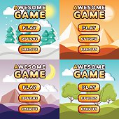 Main menu game interfaces kit. Forest, desert, canyon, hills backgrounds