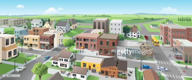stockillustraties, clipart, cartoons en iconen met hoofdstraat panorama - stadsstraat