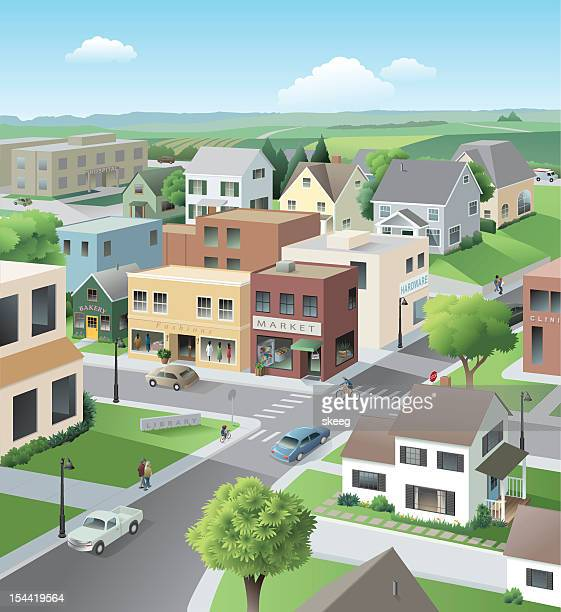 main street - house exterior stock illustrations, clip art, cartoons, & icons