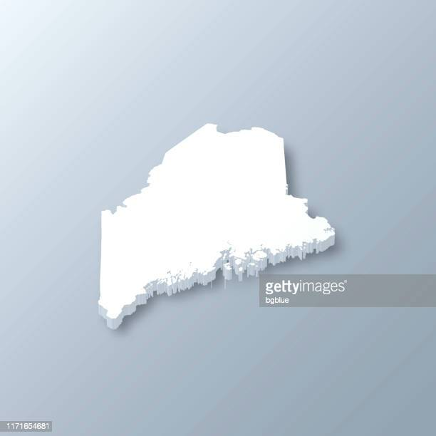 maine 3d map on gray background - augusta maine stock illustrations