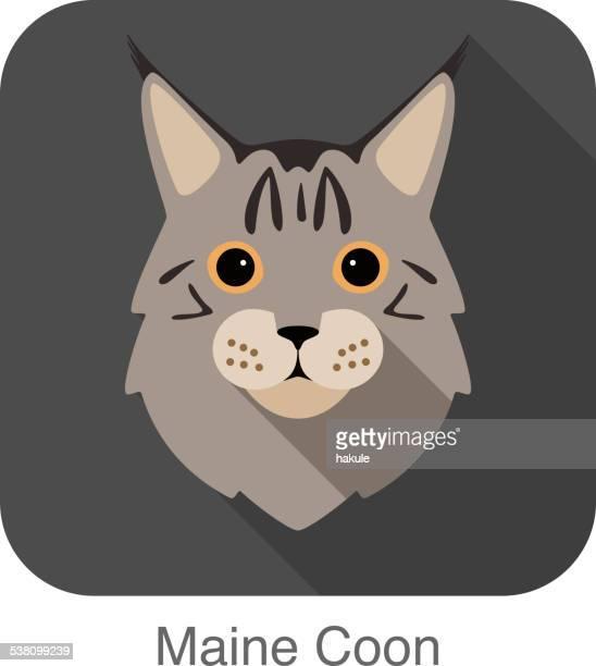illustrations, cliparts, dessins animés et icônes de maine coon, chat race visage cartoon design plat icône - chat profil