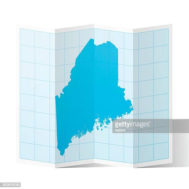 Maine Map folded, isolated on white Background
