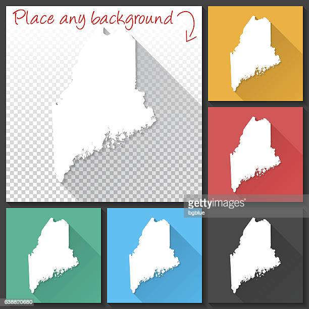 Maine Map for design, Long Shadow, Flat Design