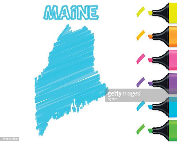 Maine map hand drawn on white background, blue highlighter