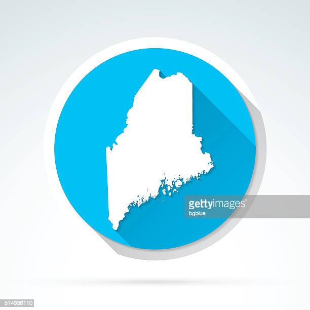Maine map icon, Flat Design, Long Shadow