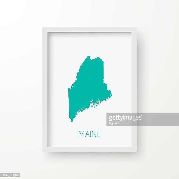 Maine Map in Frame on White Background
