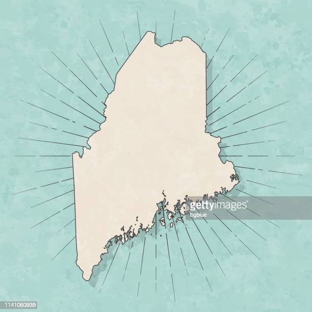 maine map in retro vintage style - old textured paper - maine stock illustrations