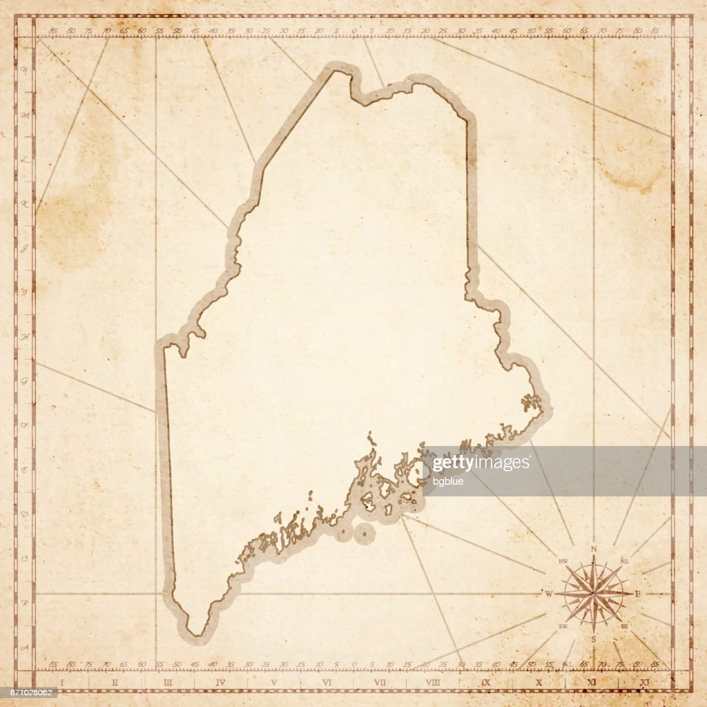 Old Maine Map.Maine Map In Retro Vintage Style Old Textured Paper Vector Art