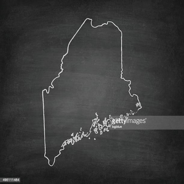 Maine Map on Blackboard - Chalkboard