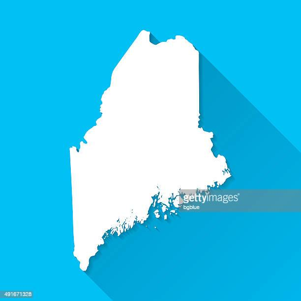 Maine Map on Blue Background, Long Shadow, Flat Design