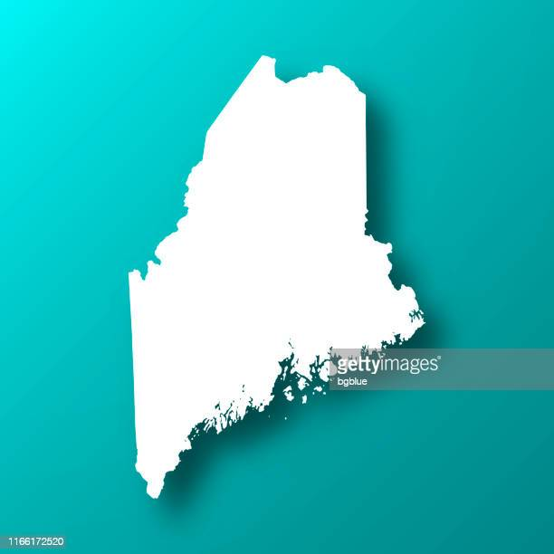 maine map on blue green background with shadow - augusta maine stock illustrations