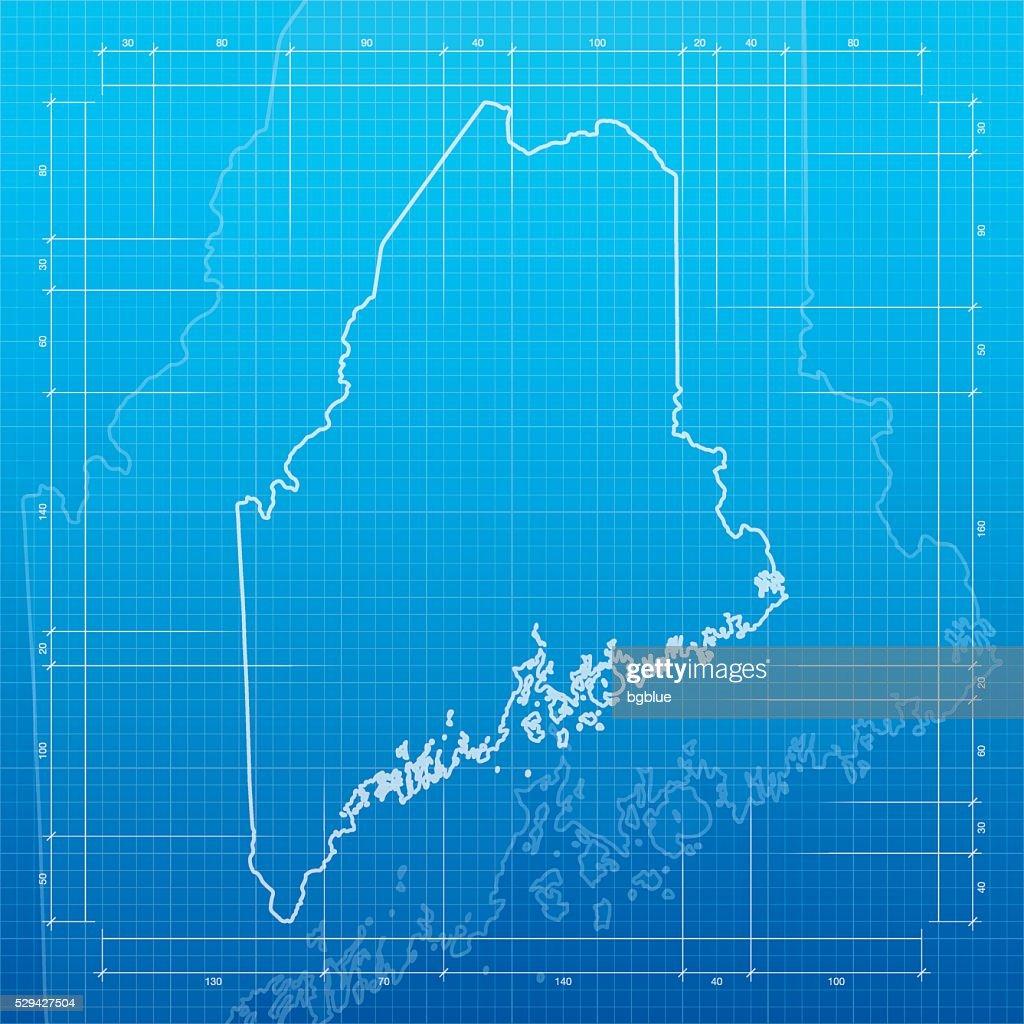 Maine map on blueprint background vector art getty images maine map on blueprint background vector art malvernweather Images