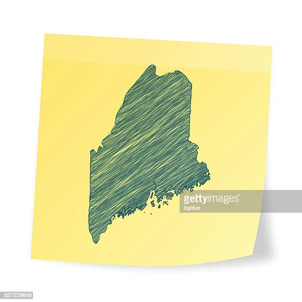 Maine map on sticky note with scribble effect
