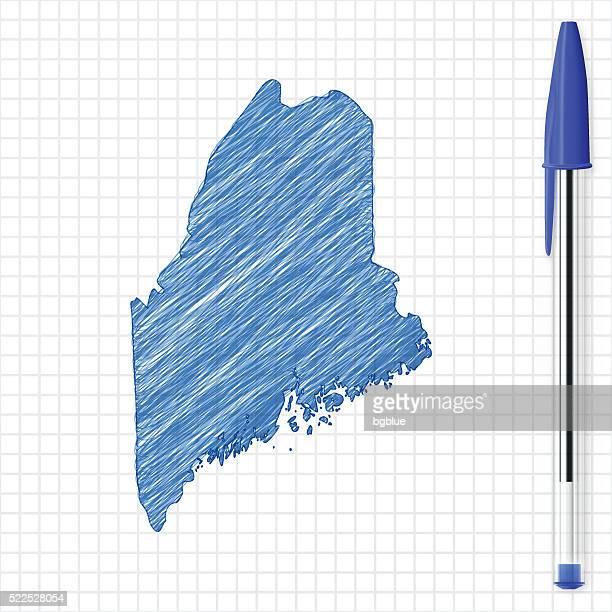 Maine map sketch on grid paper, blue pen