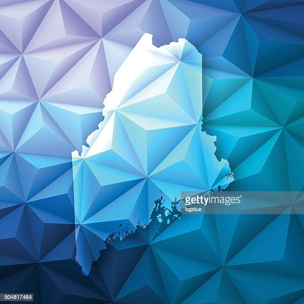 Maine on Abstract Polygonal Background - Low Poly, Geometric
