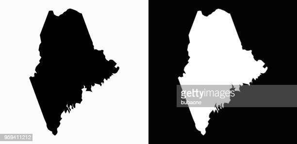 maine state black and white simple map - maine stock illustrations