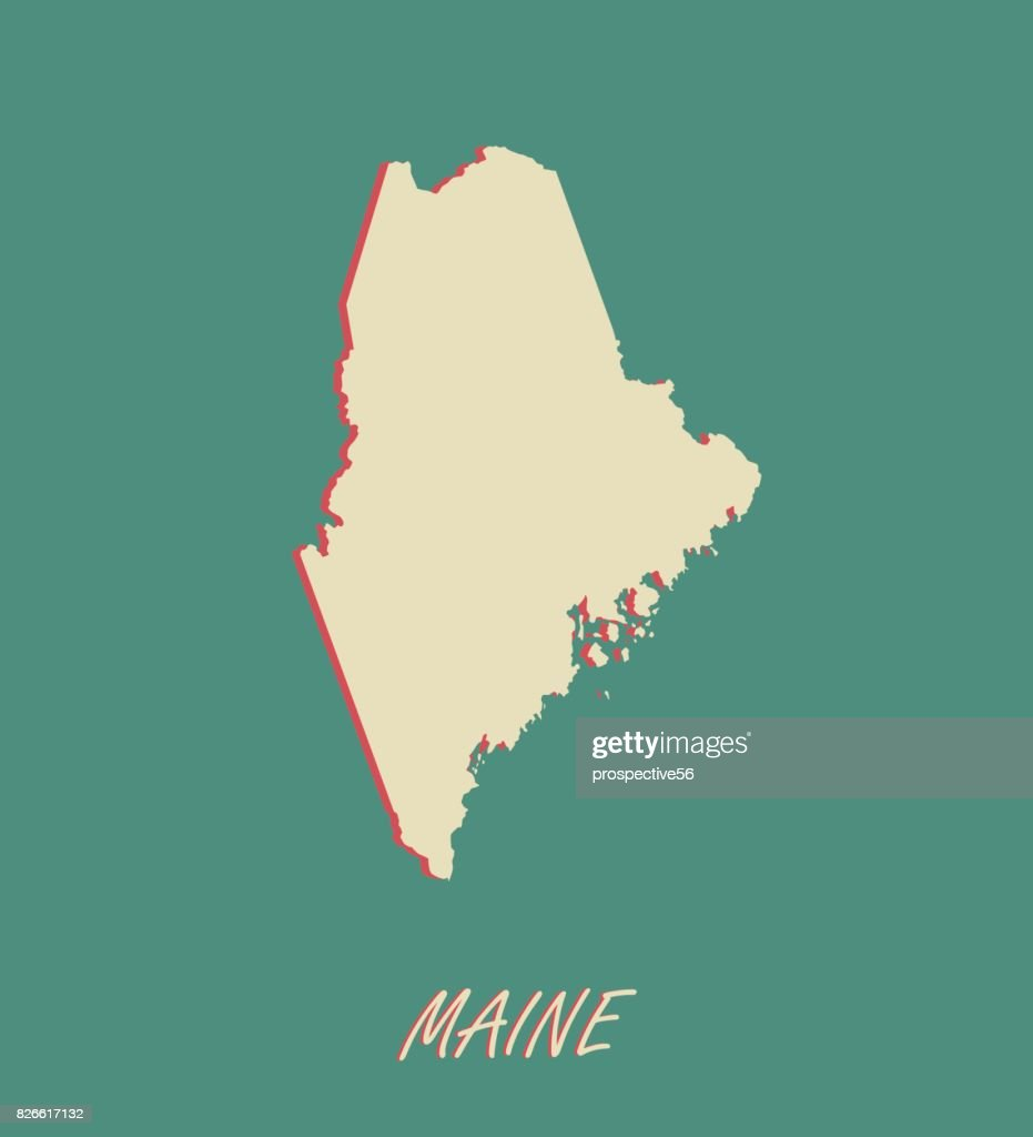 Maine State Of Usa Map Vector Outlines In A 3d Illustration ...