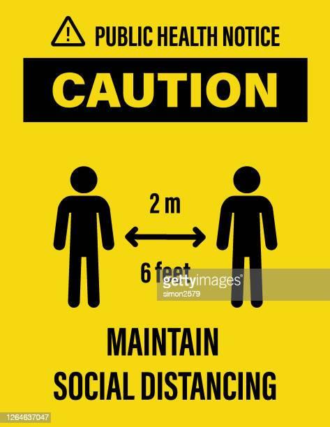 caution : maintain 6 feet social distancing - dividing stock illustrations