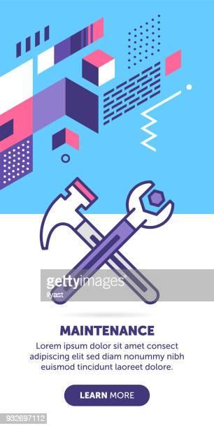 ilustraciones, imágenes clip art, dibujos animados e iconos de stock de bandera de mantenimiento - caja de herramientas