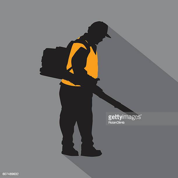 maintenance man icon - leaf blower stock illustrations